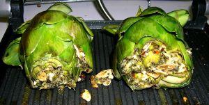 mid-grill stuffed artichokes
