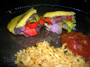 Black bean, onion, jalapeno and red pepper arepas