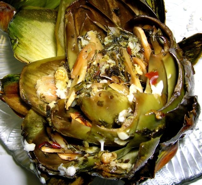 Fire-roasted artichoke with almonds