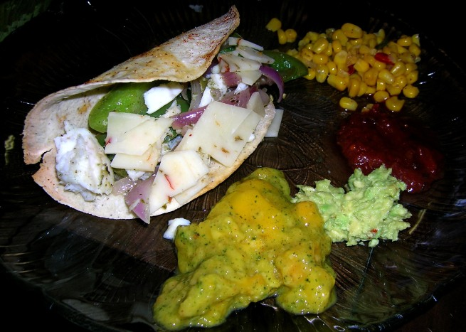 mango chutney, guac, salsa and corn.