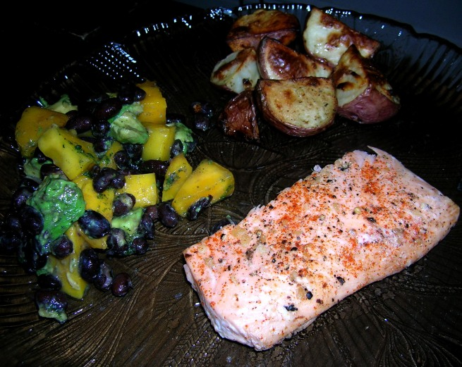 fruit salsa, roasted potatoes and spicy salmon