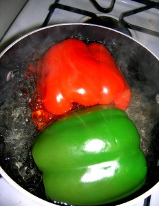peppers in hot water
