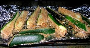 zucchinis, mid bake