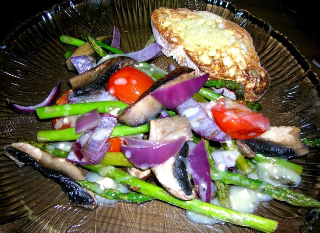 warm asparagus, tomato, mushroom and red onion salad