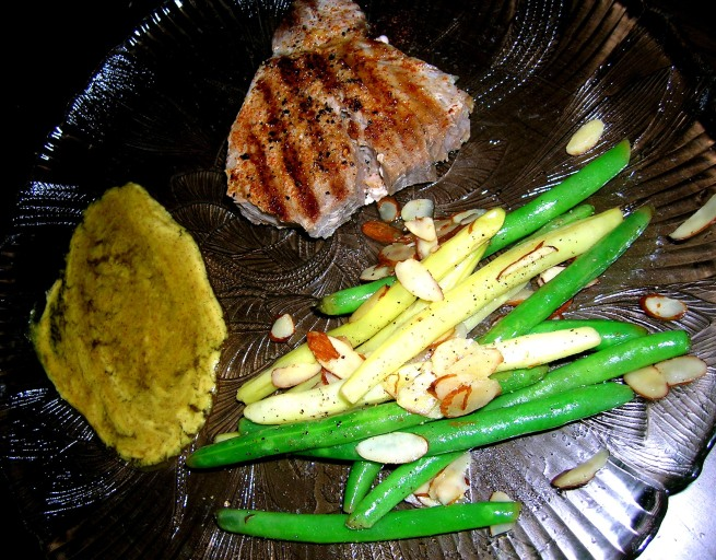 ahi tuna and green beans amandine