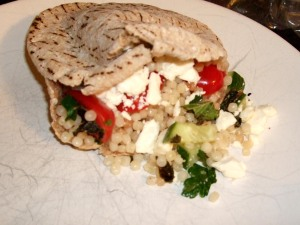 pita stuffed with tabbouleh and feta