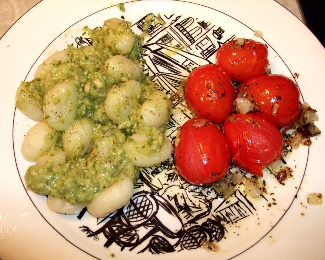 potato gnocchi with avocado basil puree, roasted tomatoes with dry herbs and shallots