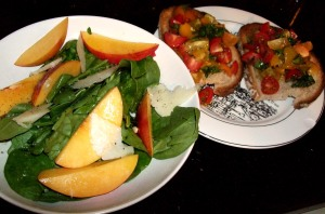 spinach, nectarine and manchego salad, heirloom tomato bruschetta