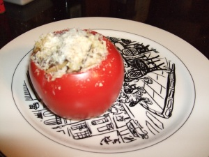 stuffed tomatoes with basmati rice & curried eggplant, topped with bread crumbs and Manchego cheese