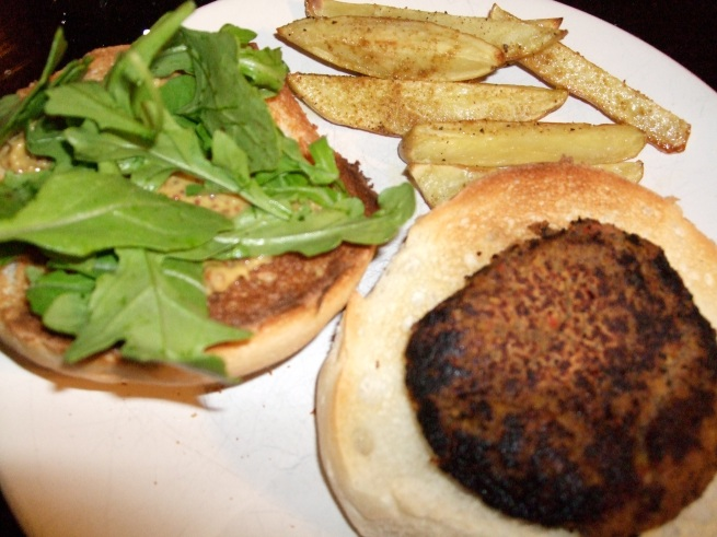 black bean and veggie burger, cumin spiced fries