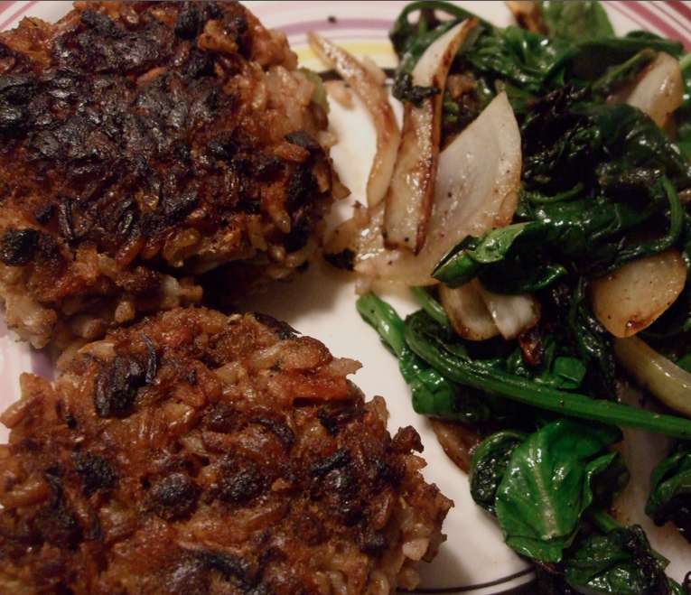 lentil walnut burgers and sauteed spinach